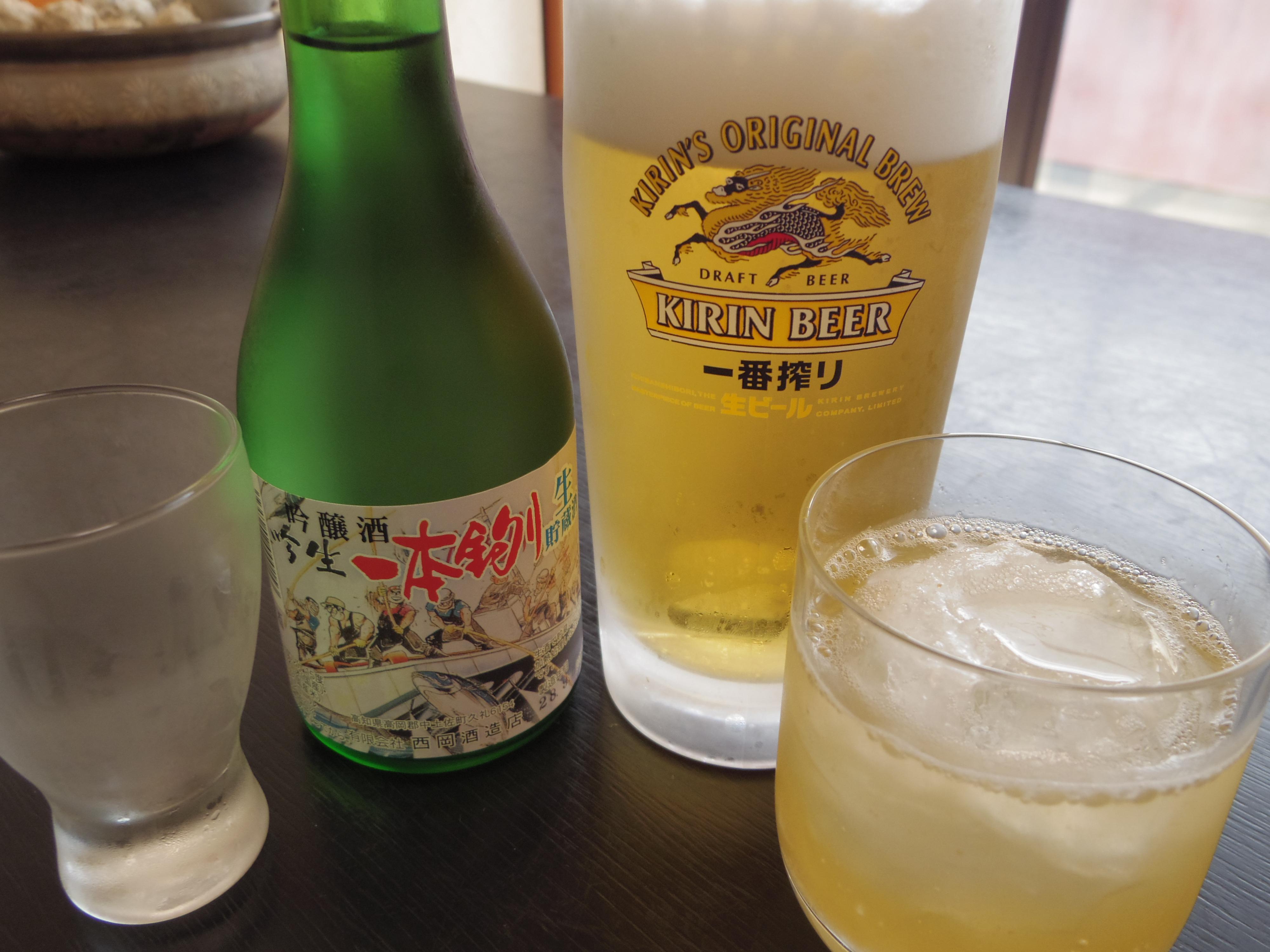 地酒土佐の一本釣り 生ビール 梅酒