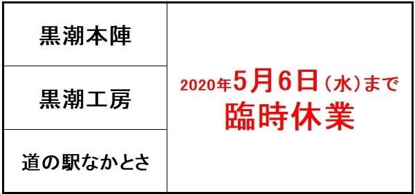 黒潮本陣・道の駅なかとさ 5月6日(水)まで臨時休業します