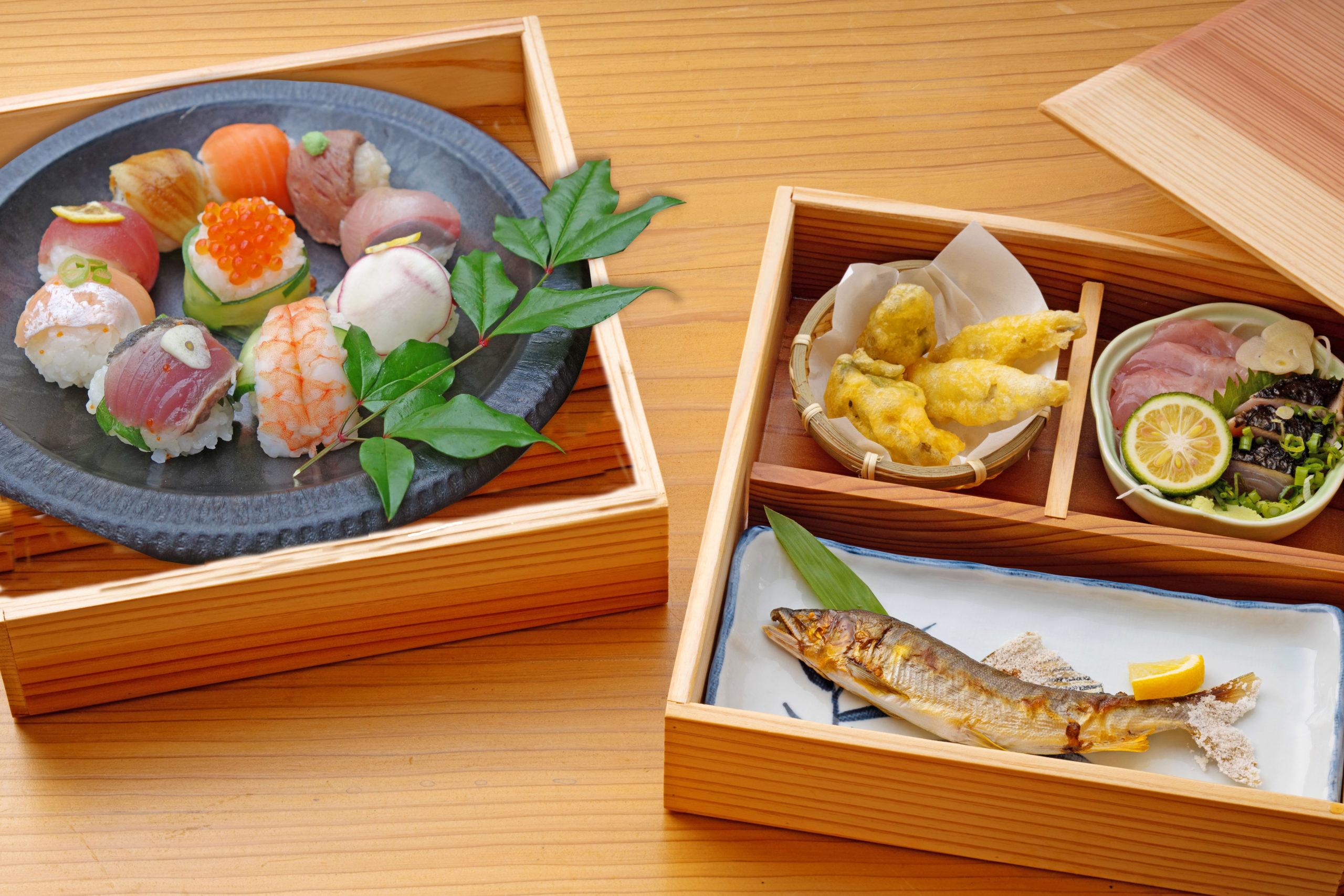 「貸切温泉」と「手毬寿司づくり」